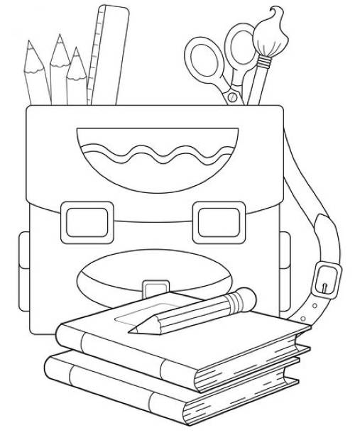 Kostenlose Malvorlage Schule: Büchertasche und Schreibzeug zum Ausmalen