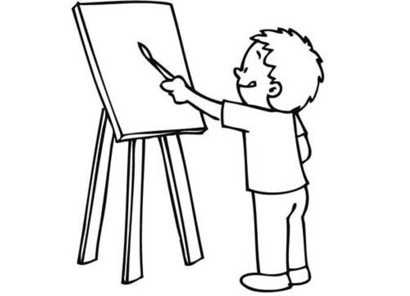 Ausmalbild Schule: Schüler im Kunstunterricht kostenlos ausdrucken