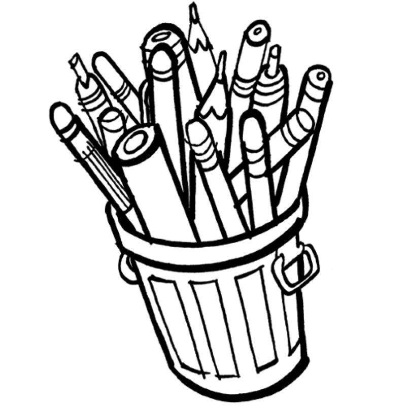 Kostenlose Malvorlage Schule: Stiftebox zum Ausmalen