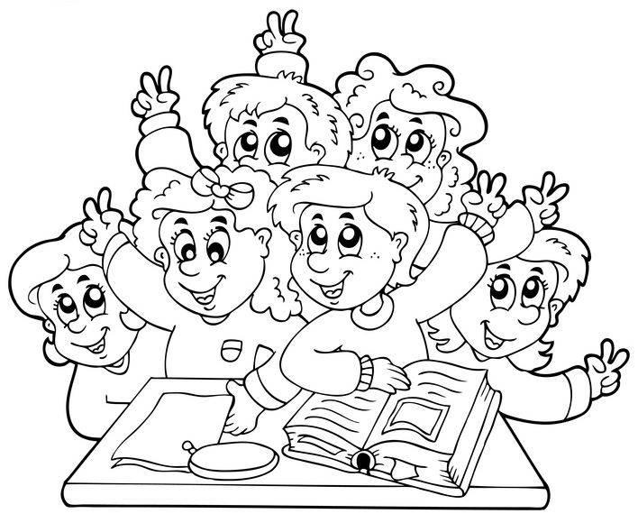 Ausmalbild Schule: Grundschulklasse zum Ausmalen kostenlos ausdrucken