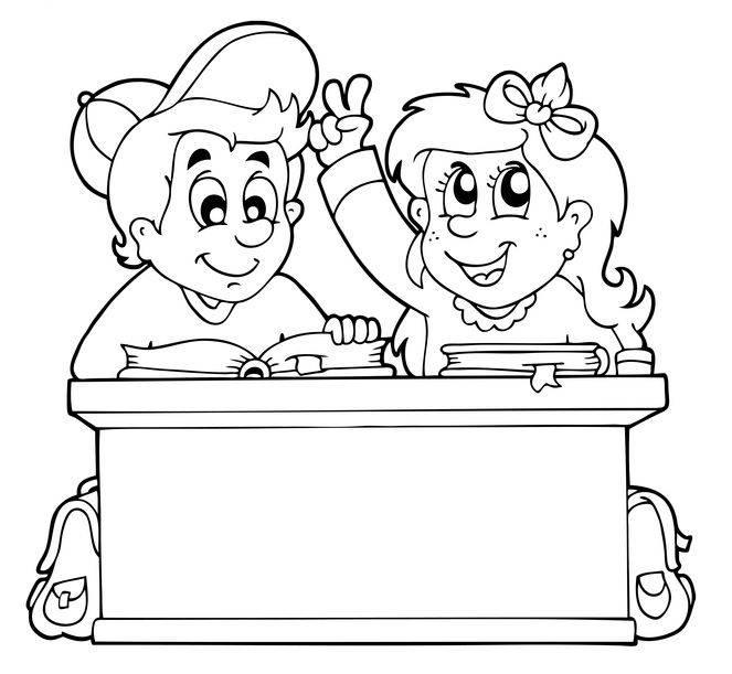 kostenlose malvorlage schule: kinder an der schulbank zum