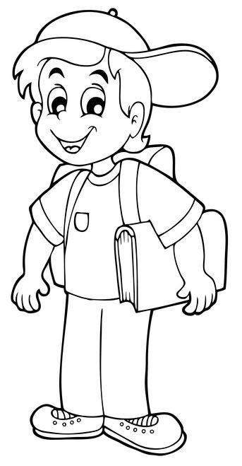 ausmalbild schule: erstklässler auf dem weg zur schule