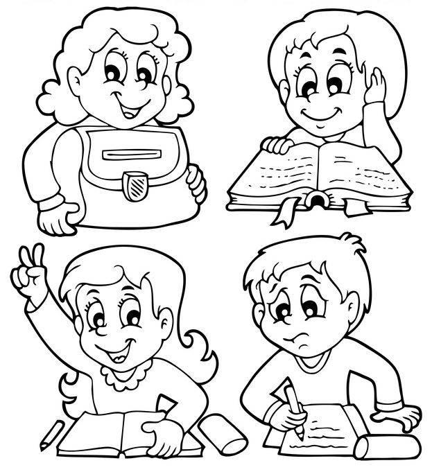Ausmalbild Schule Grundschulkinder Zum Ausmalen Kostenlos Ausdrucken