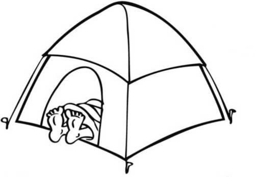 Kostenlose Malvorlage Natur: Camping zum Ausmalen