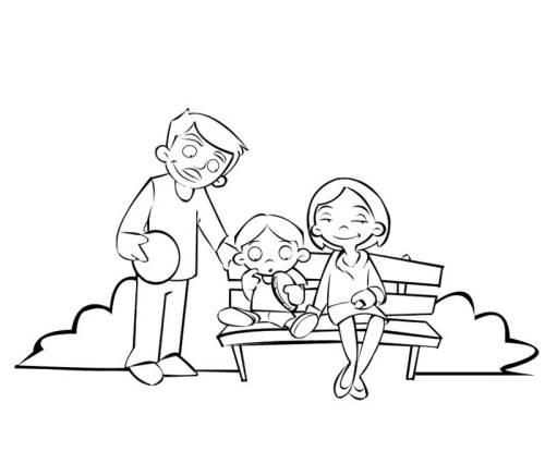 Kostenlose Malvorlage Menschen Und Ihr Zuhause Famile Auf Der