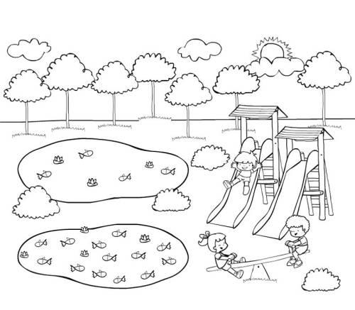 Kostenlose Malvorlage Rund ums Spielen: Waldspielplatz zum Ausmalen
