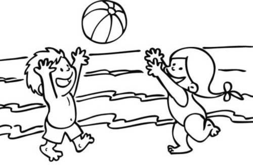 kostenlose malvorlage sommer kinder spielen wasserball