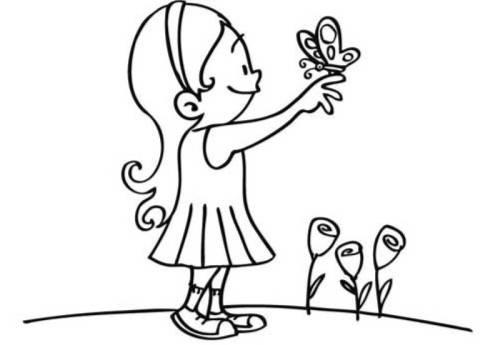 Kostenlose Malvorlage Natur Mädchen Mit Schmetterling Zum Ausmalen