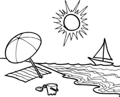 Strand malvorlage  Kostenlose Malvorlage Sommer: Sommertag am Strand zum Ausmalen