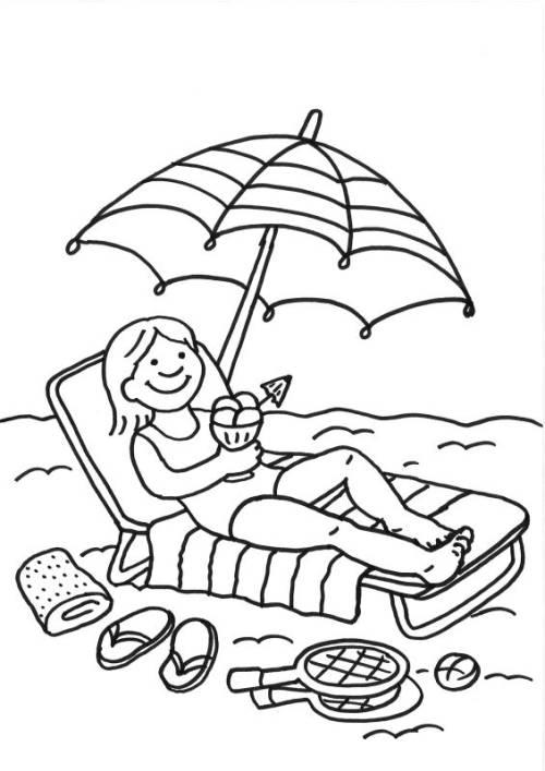 Kostenlose Malvorlage Sommer: Eisessen am Strand zum Ausmalen