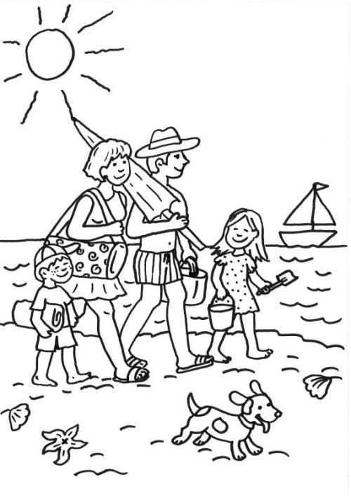 Kostenlose Malvorlage Sommer: Familie am Strand ausmalen zum Ausmalen