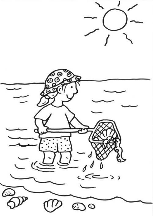 kostenlose malvorlage sommer kescher im meer zum ausmalen