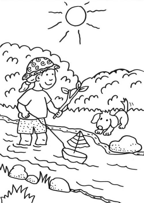 kostenlose malvorlage sommer kind spielt im bach zum ausmalen