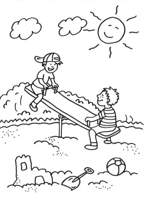 kostenlose malvorlage sommer kinder auf der wippe