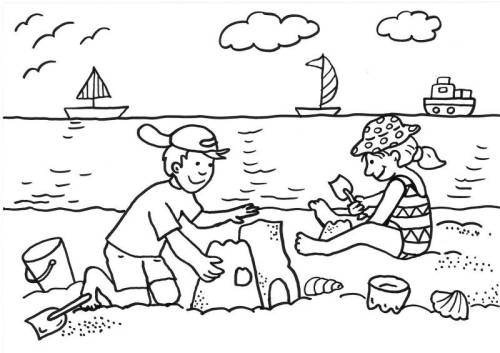 Kostenlose Malvorlage Sommer: Kinder bauen Sandburg zum Ausmalen