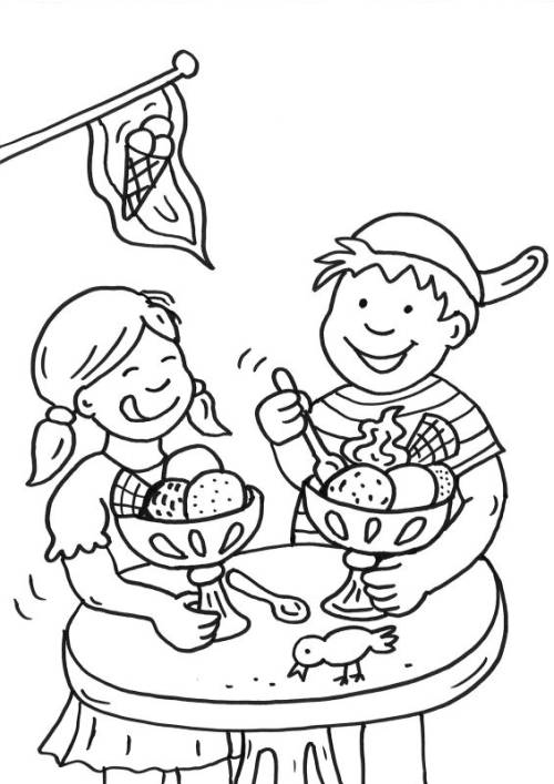 Kostenlose Malvorlage Sommer Kinder In Der Eisdiele Ausmalen Zum