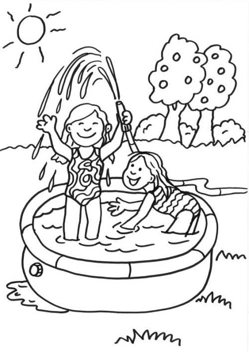 kostenlose malvorlage sommer: kinder im planschbecken