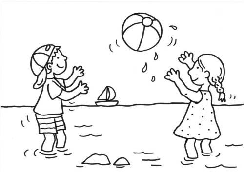 Kostenlose Malvorlage Sommer Kinder Spielen Wasserball Zum Ausmalen
