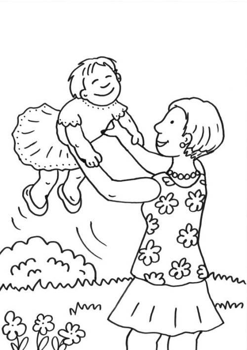 Kostenlose Malvorlage Sommer: Mama und Tochter zum Ausmalen