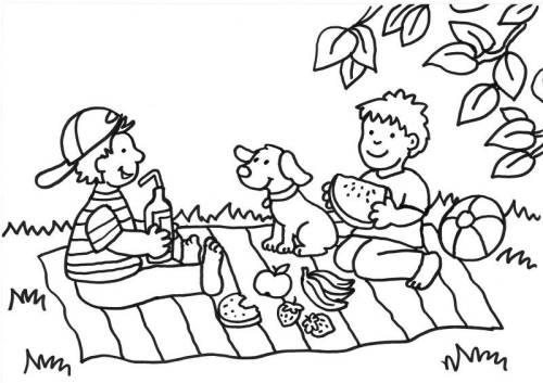 kostenlose malvorlage sommer: picknick zum ausmalen