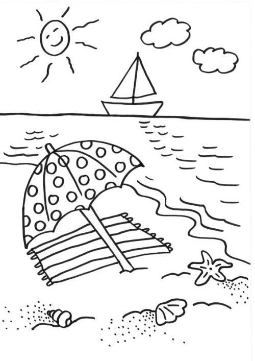 Kostenlose Malvorlage Sommer: Sonnenschirm ausmalen zum Ausmalen