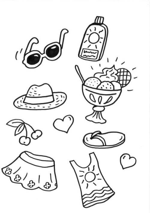 kostenlose malvorlage sommer strandsachen zum ausmalen