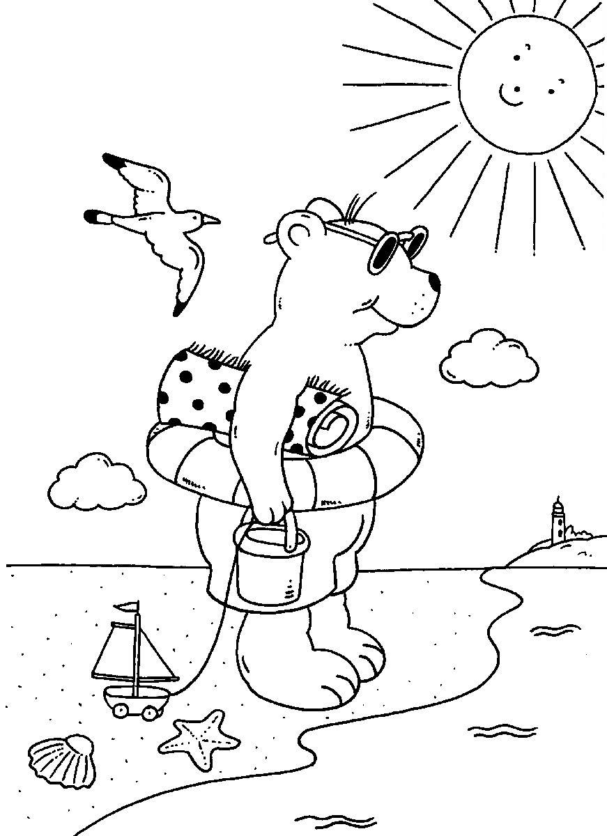 Ausmalbild Sommer: Bär am Strand kostenlos ausdrucken