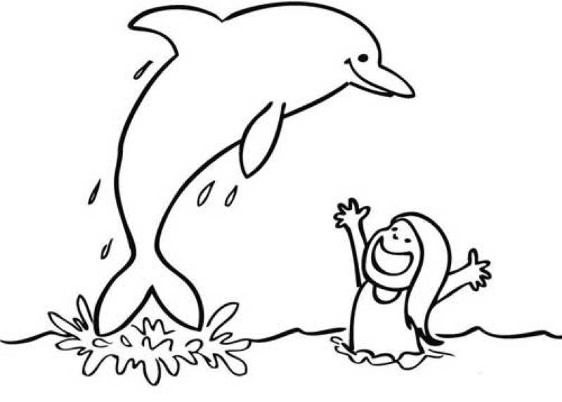 Ausmalbild Tiere: Mädchen und Delfin kostenlos ausdrucken