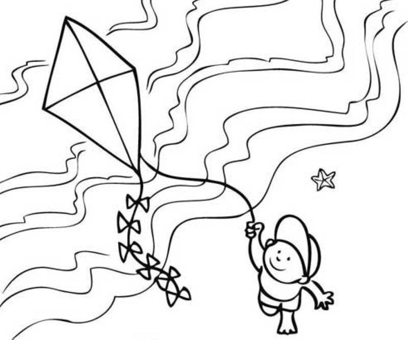Ausmalbild Sommer: Drachen steigen lassen am Strand kostenlos