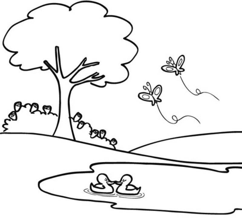 Ausmalbild Bäume Frühling Im Park Kostenlos Ausdrucken