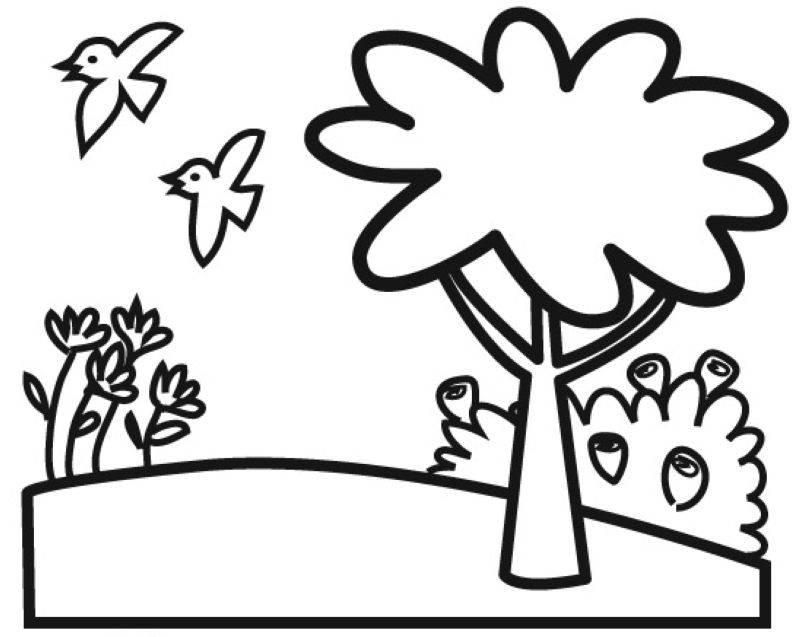 Ausmalbild Natur Baum Auf Einer Blumenwiese Kostenlos Ausdrucken