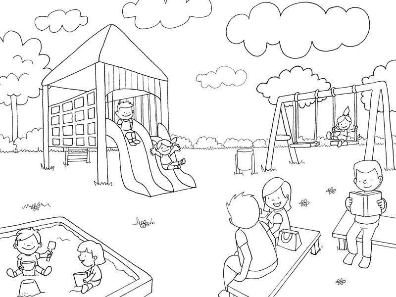 ausmalbild rund ums spielen auf dem spielplatz kostenlos ausdrucken. Black Bedroom Furniture Sets. Home Design Ideas