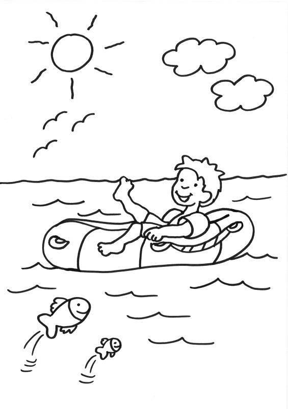 kostenlose malvorlage sommer: junge im schlauchboot