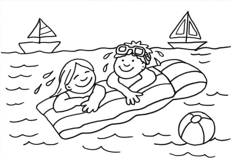 kostenlose malvorlage sommer kinder auf der luftmatratze ausmalen zum ausmalen. Black Bedroom Furniture Sets. Home Design Ideas