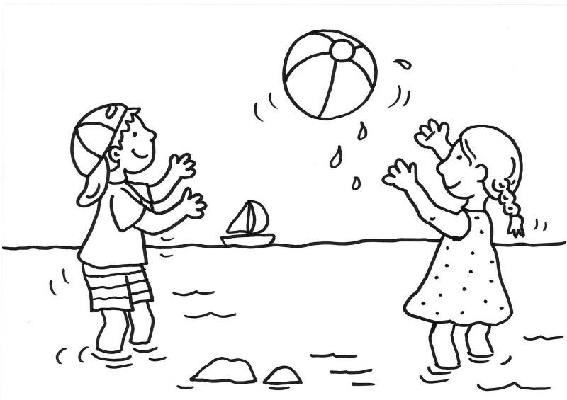Ausmalbild Sommer Kinder Spielen Wasserball Kostenlos Ausdrucken