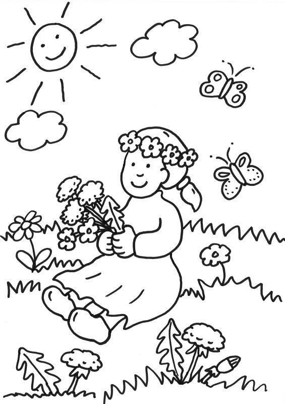 ausmalbild sommer mädchen mit blumenkrone ausmalen