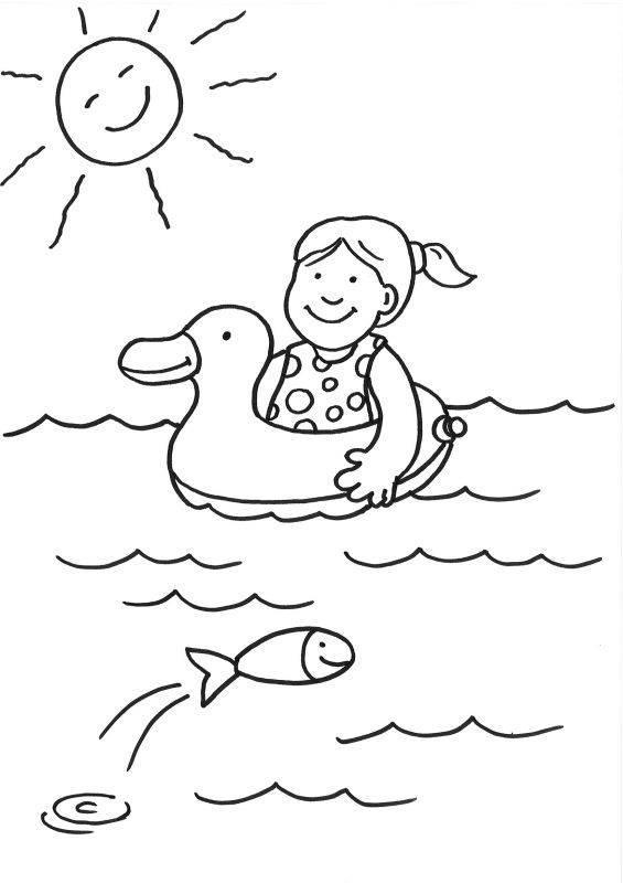 ausmalbild sommer mädchen mit schwimmreifen ausmalen