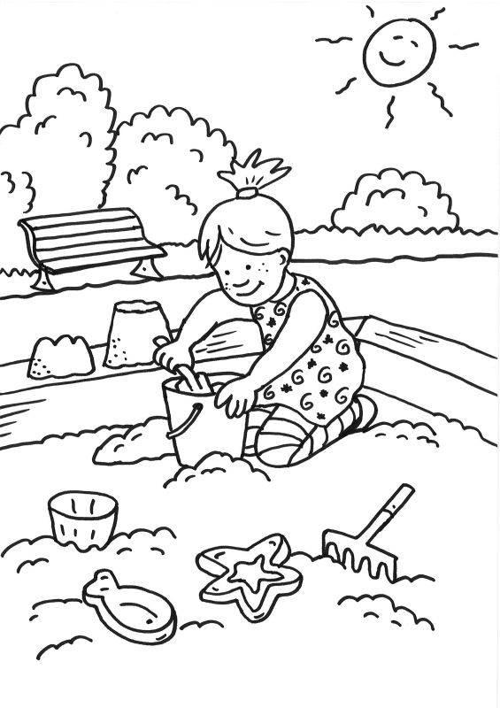 kostenlose malvorlage sommer sandkasten zum ausmalen