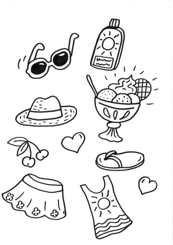 ausmalbild sommer strandsachen kostenlos ausdrucken