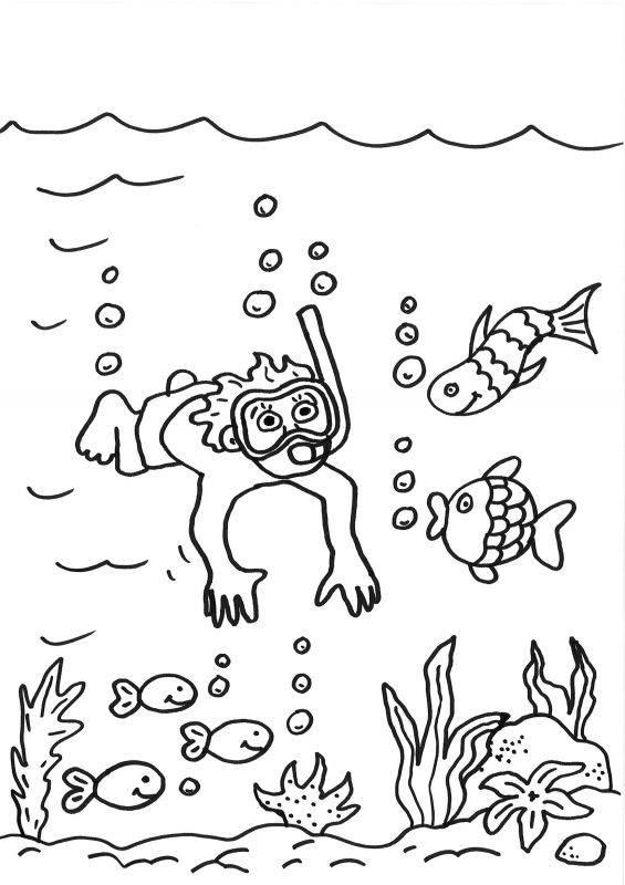 kostenlose malvorlage sommer: taucher im meer ausmalen zum