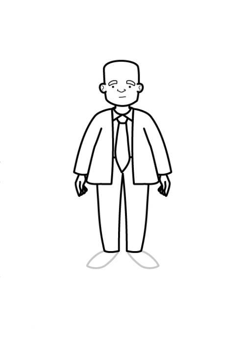 Kostenlose Malvorlage Menschen und ihr Zuhause: Mann mit Glatze zum ...