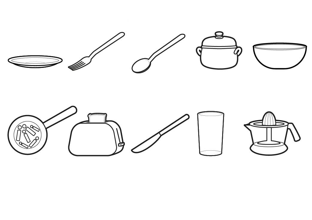 Kostenlose malvorlage menschen und ihr zuhause geschirr - Utensilios de cocina para ninos ...
