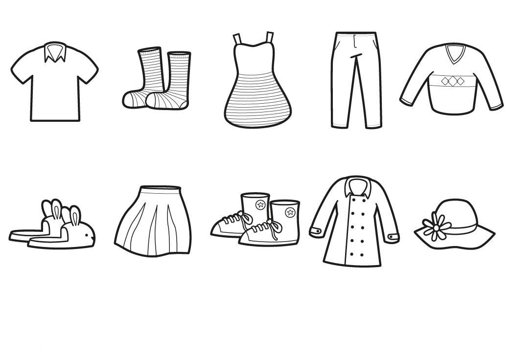 Ausmalbild Menschen und ihr Zuhause: Verschiedene Kleidung