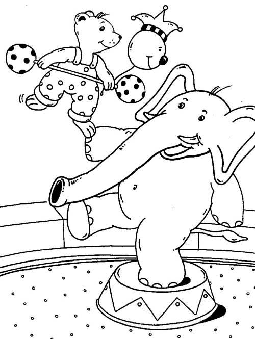 kostenlose malvorlage rund ums spielen bär und elefant im