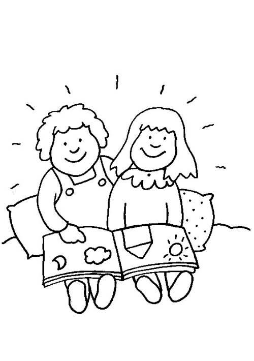 Kostenlose Malvorlage Rund ums Spielen: Kinder mit Bilderbuch zum ...
