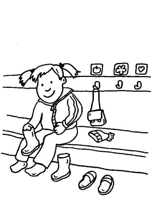 Kostenlose Malvorlage Rund ums Spielen: Im Kindergarten zum Ausmalen