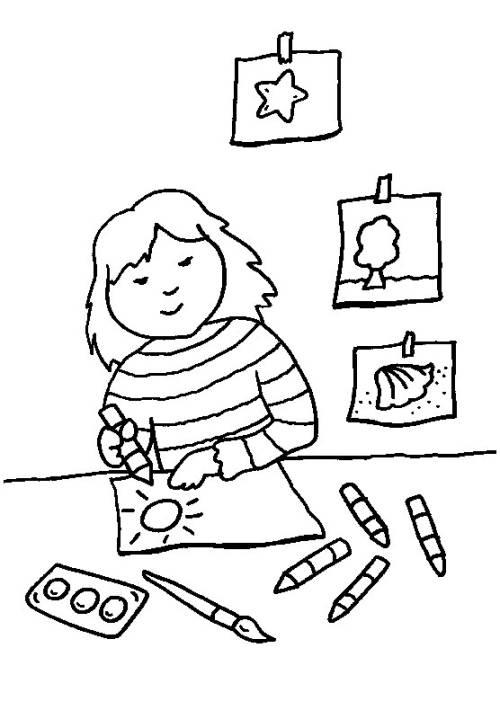 kostenlose malvorlage rund ums spielen m dchen malt ein bild zum ausmalen. Black Bedroom Furniture Sets. Home Design Ideas