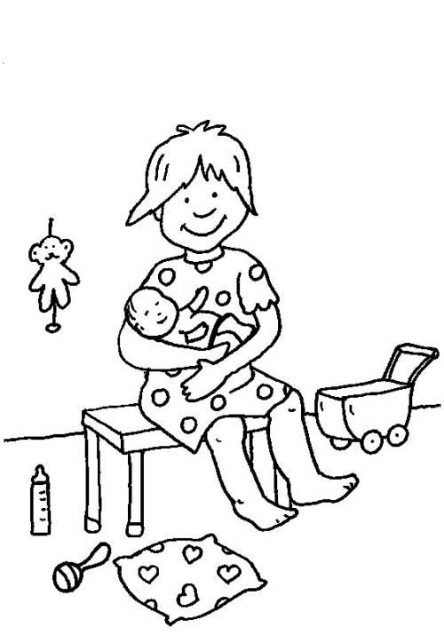 Kostenlose Malvorlage Rund ums Spielen: Mama spielt mit Baby zum ...