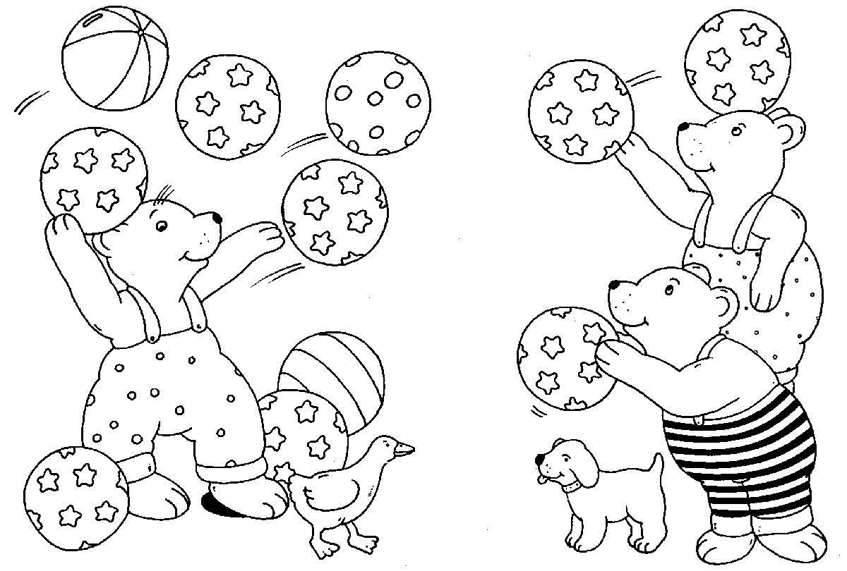 Ausmalbild Rund ums Spielen: Bären beim Ballspielen kostenlos ausdrucken