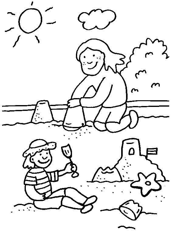 Sandburg malen  Kostenlose Malvorlage Rund ums Spielen: Kinder bauen eine Sandburg ...